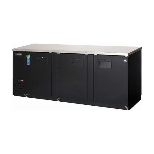 Everest Refrigeration EBB90 - Black  - Three Section Solid Door Back Bar Cooler - 27.76 Cu. Ft.