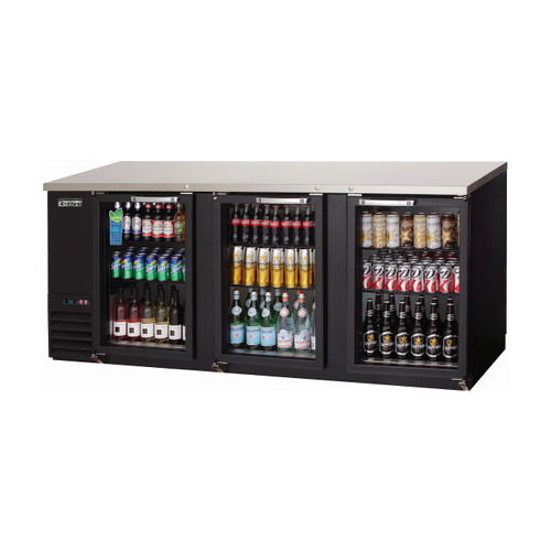 "Everest Refrigeration EBB90G 89.25"" Black Three Section Glass Door Back Bar Cooler - 27.76 Cu. Ft."