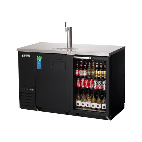 "Everest Refrigeration EBD2-BBG 57.75"" Black Two Section Solid/Glass Door Back Bar/Direct Draw Keg Refrigerator - 1 Keg"