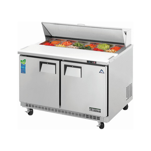 "Everest Refrigeration EPBNR2 47.5"" Two Section Back Mount Sandwich Prep Table - 11.8 Cu. Ft."
