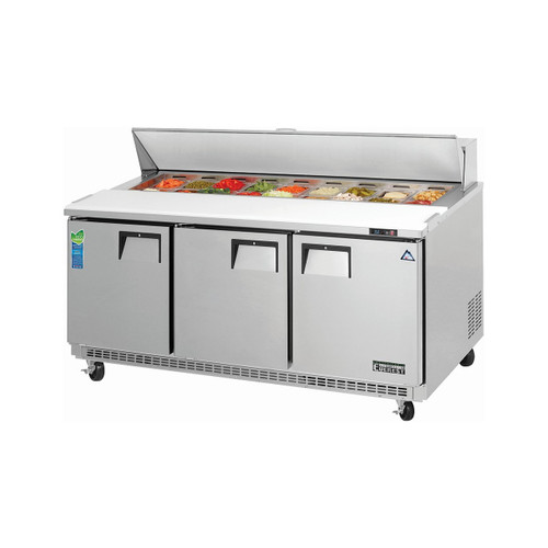 "Everest Refrigeration EPBNR3 71.13"" Three Section Back Mount Sandwich Prep Table - 18.3 Cu. Ft."