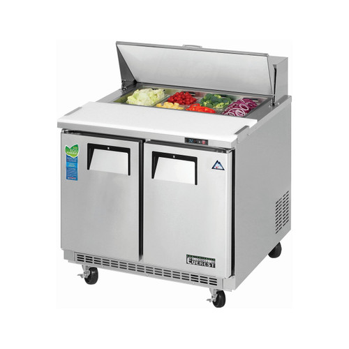 "Everest Refrigeration EPBNSR2 35.63"" Two Section Back Mount Sandwich Prep Table - 8.5 Cu. Ft."