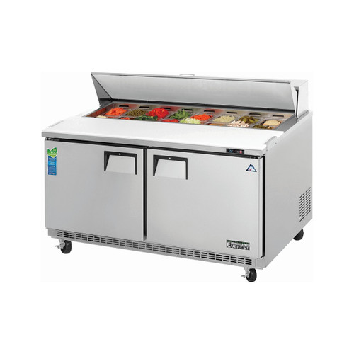 "Everest Refrigeration EPBNWR2 59.13"" Two Section Back Mount Sandwich Prep Table - 15 Cu. Ft."