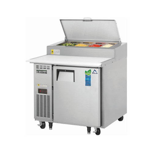 "Everest Refrigeration EPPR1 35.5"" One Section Side Mount Pizza Prep Table - 9 Cu. Ft."