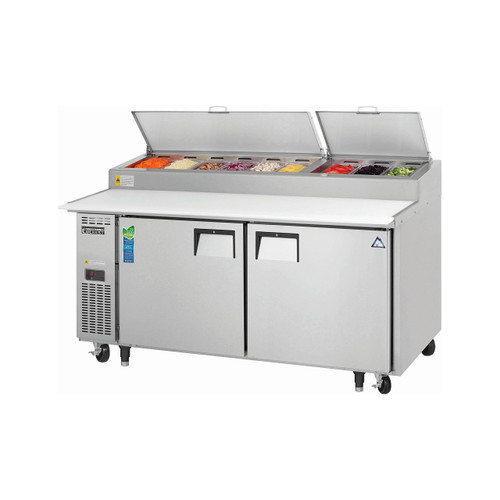 "Everest Refrigeration EPPR2 71"" Two Section Side Mount Pizza Prep Table - 23 Cu. Ft."
