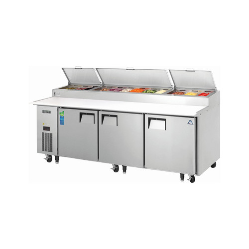 "Everest Refrigeration EPPR3 93.25"" Three Section Side Mount Pizza Prep Table - 30 Cu. Ft."
