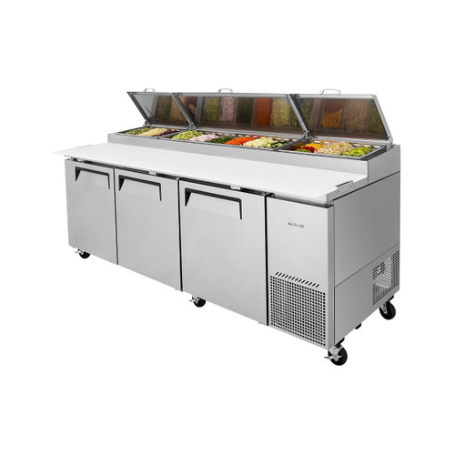 Turbo Air TPR-93SD-N Super Deluxe Pizza Prep Table - 3 Solid Doors