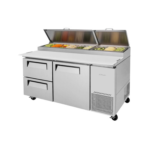 Turbo Air TPR-67SD-D2-N Super Deluxe Pizza Prep Table - 2 Drawers & 1 Solid Door
