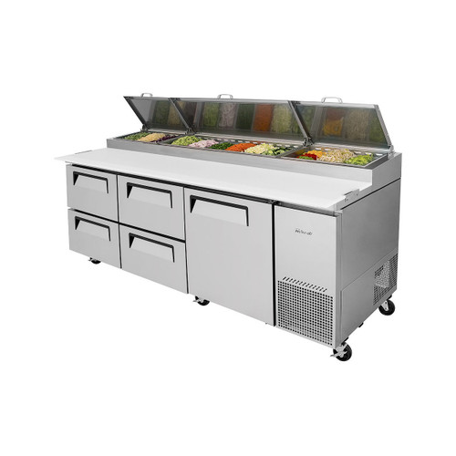 Turbo Air TPR-93SD-D4-N Super Deluxe Pizza Prep Table - 4 Drawers & 1 Solid Door