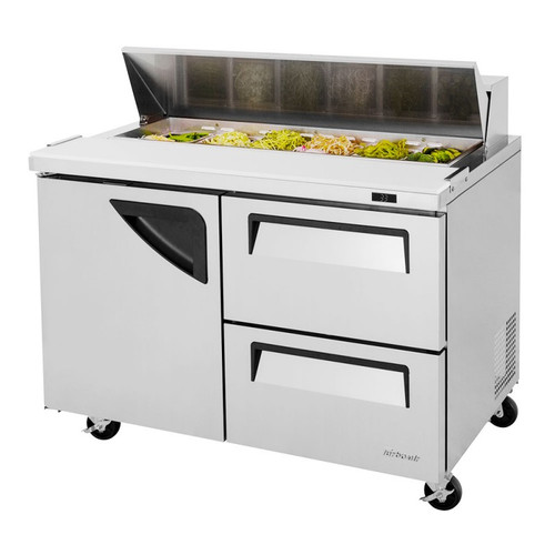 Turbo Air TST-48SD-D2-N Super Deluxe Sandwich/Salad Prep Table - 2 Drawers & 1 Solid Door