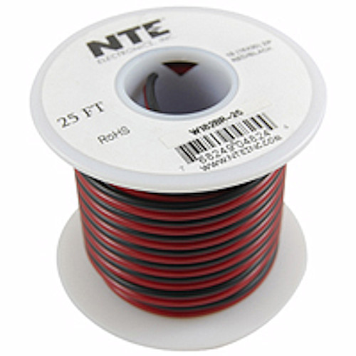 NTE - WIRE-SPKR 18/2 BLK/RED SD (W182BR-25)