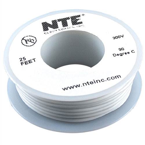 NTE - WIRE-300VHU 26GA WHT SOLID 25FT (WHS26-09-25)