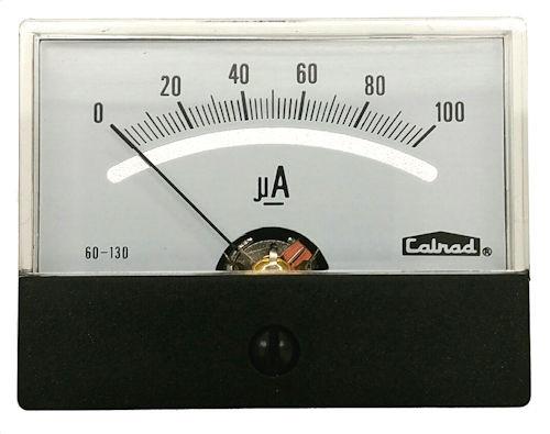CALRAD - 2-3/8 PANEL METER 0-100uA (60-130)