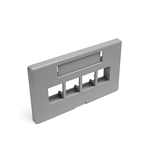 grey, 4 port furnature faceplate