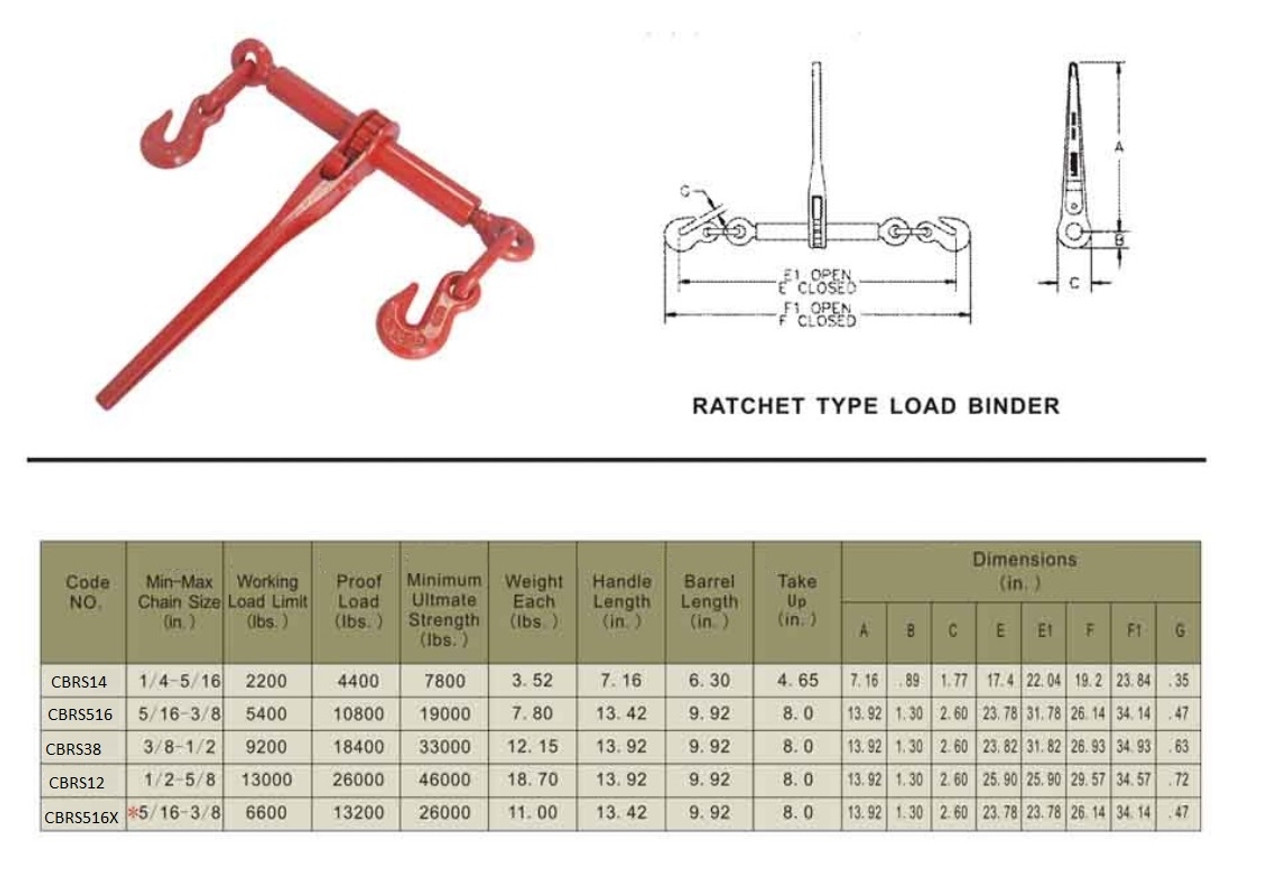 6 5//16-3//8 G70 Ratchet Chain Binder 6,600 WLL