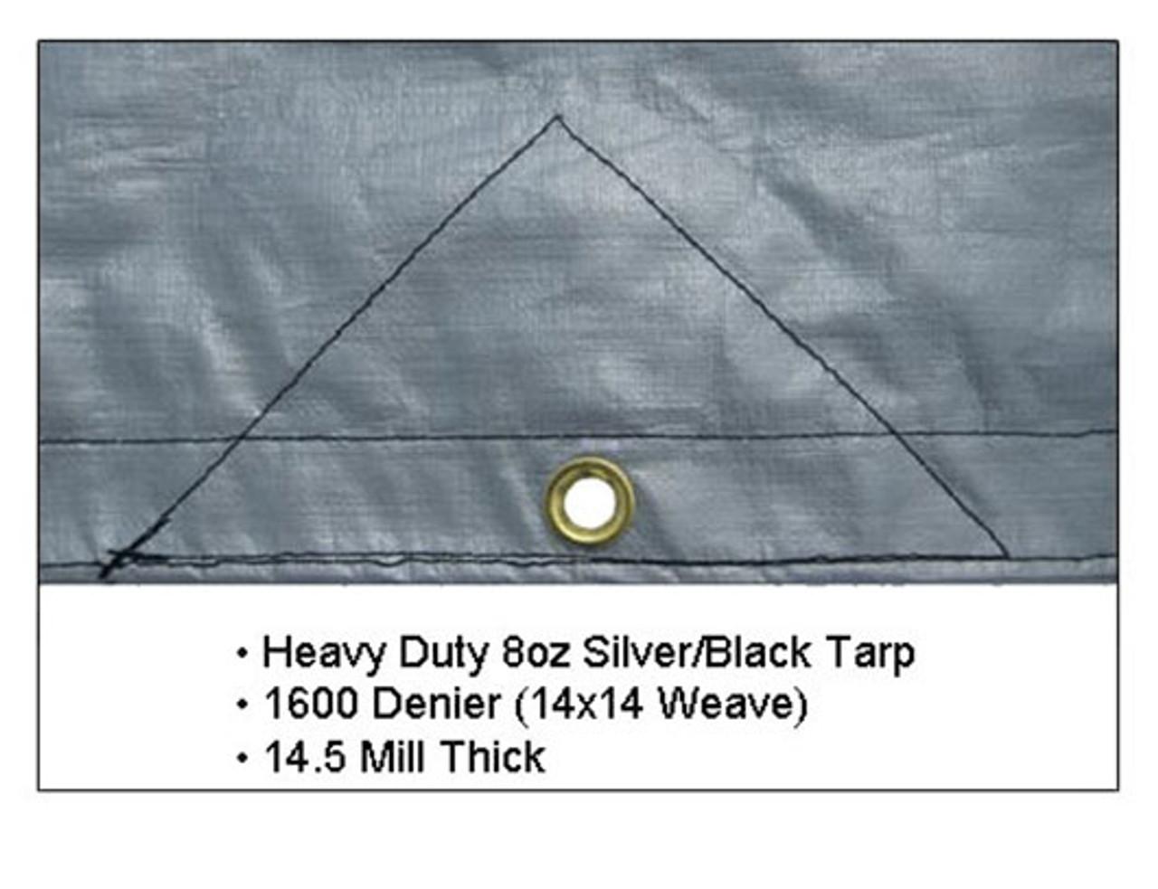 15/' x 54/' Heavy Duty 8oz Hay Tarps Silver Black 14.5 mil Waterproof