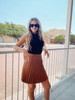 Camel Gals Of Fall Pleated Skirt