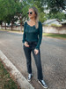 Teal Ribbed Lace Long Sleeve Top