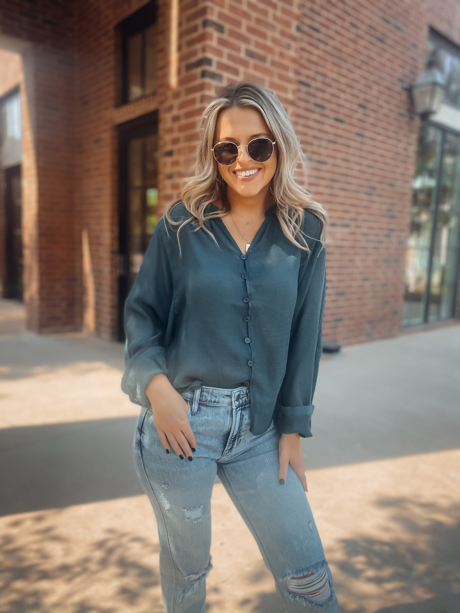 Just Relax Button Down Top