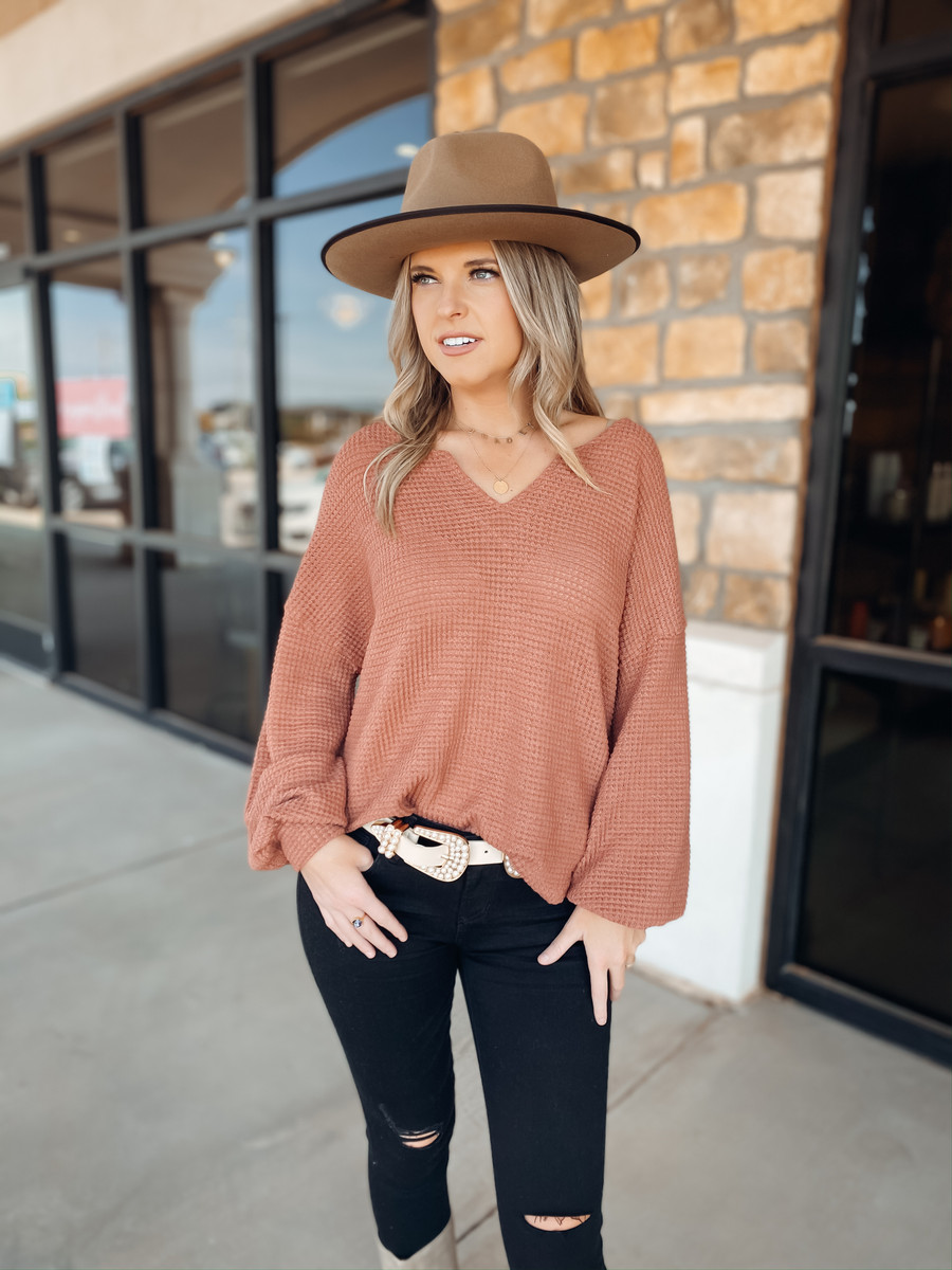 Ginger Waffle Knit Top