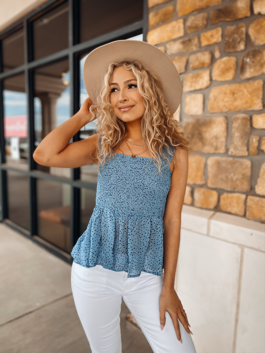 Sapphire Spots Smocked Top