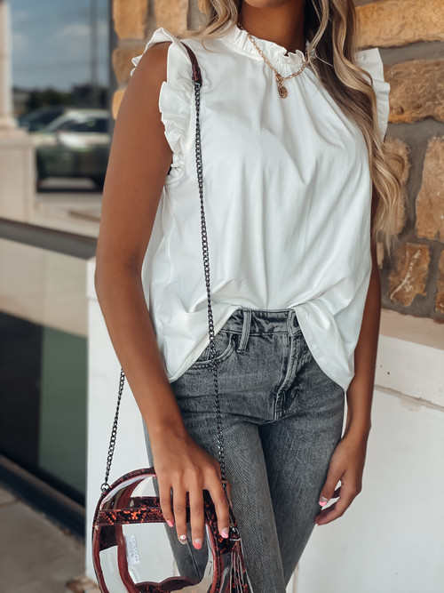 Ivory Ruffle Some Sleeves Top