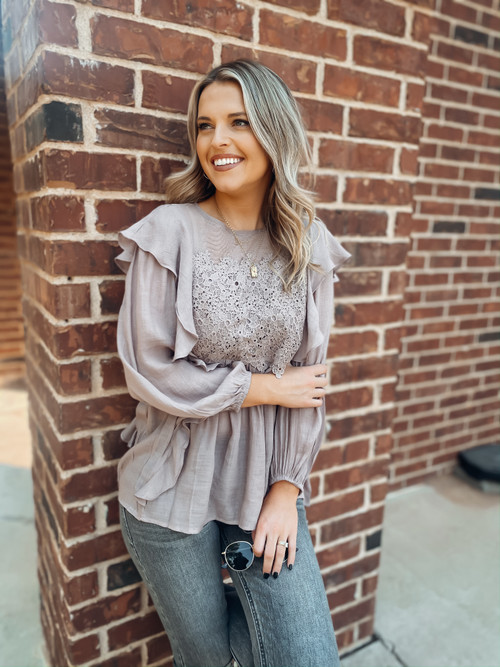 Mauve You're My Sweetheart Ruffle Top