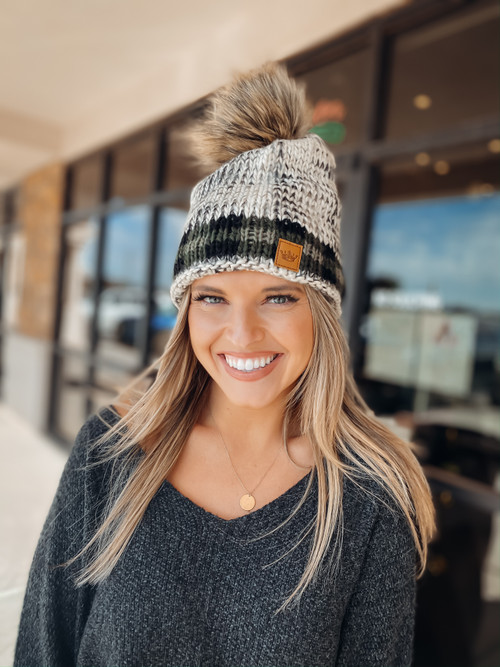 Green Plaid Fleece Pom Beanie