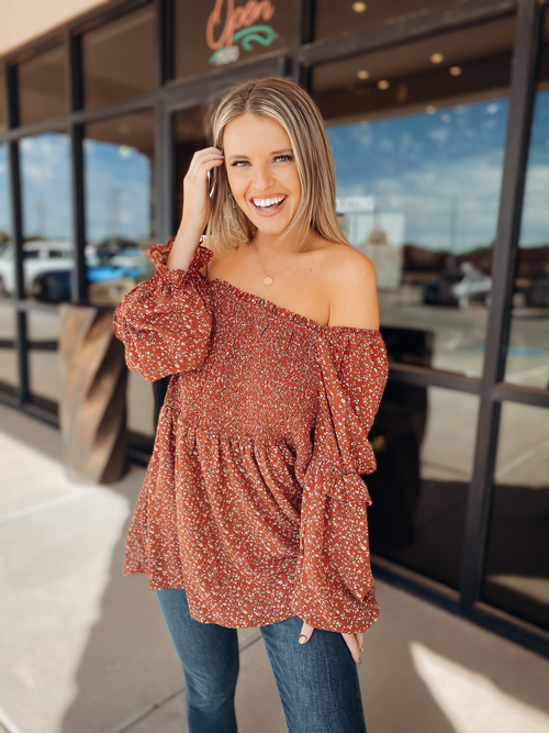 Pumpkin Spice Floral Top