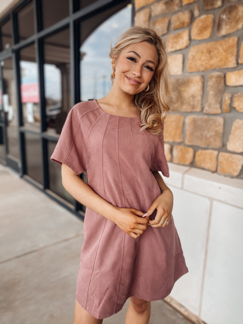Mauve Sway With Me Suede Dress