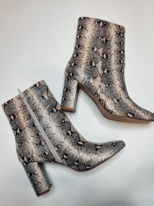 Kinda Quirky Snake Beige Booties