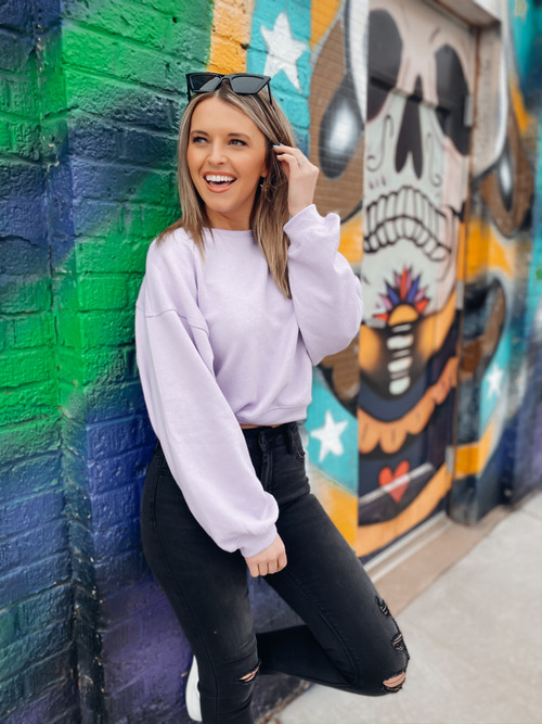 Lilac Holla Back Cropped Sweater