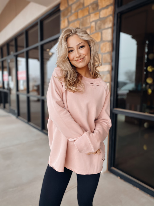 Blush Be Free Distressed Sweater