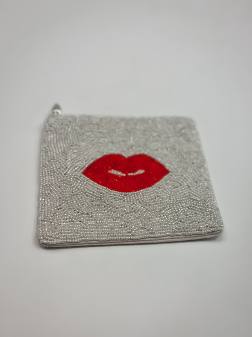 Red Lips Beaded Pouch