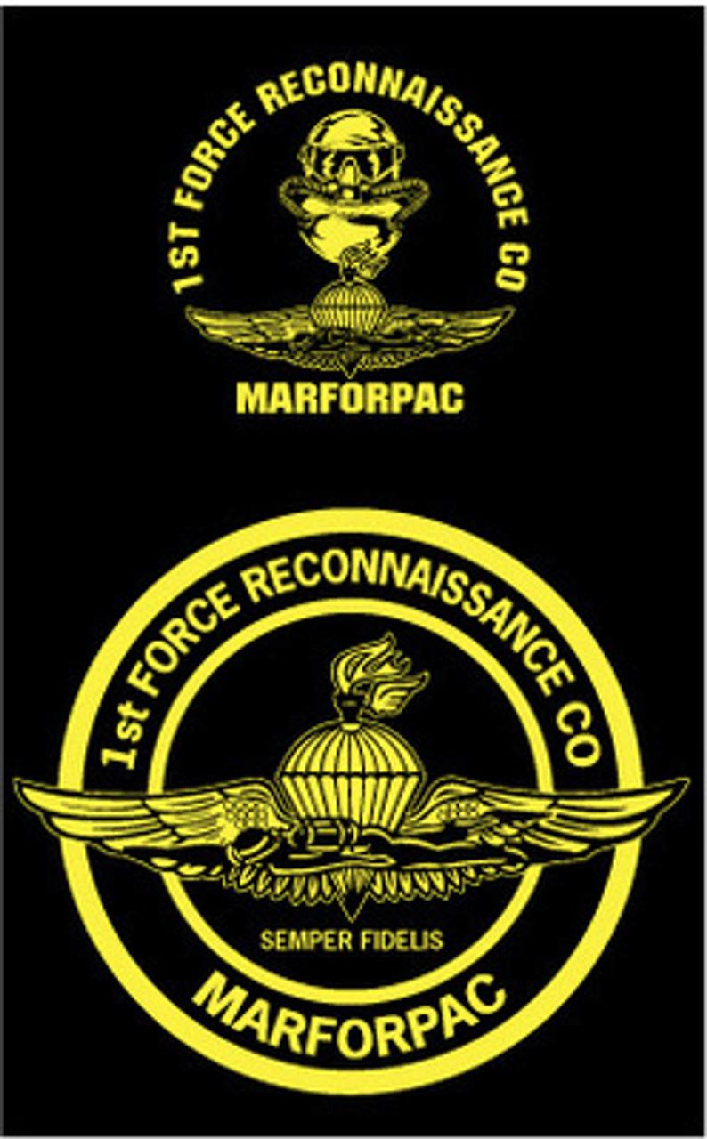 Diver Parachutist USMC Force Recon emblem Embroidered T-shirt with a Pocket