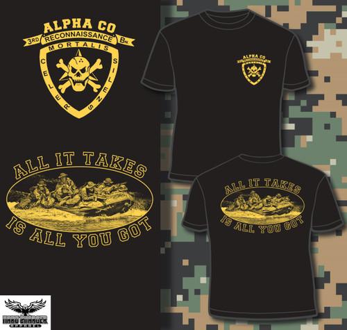Alpha Company 3rd Recon Gold Logo T-shirt