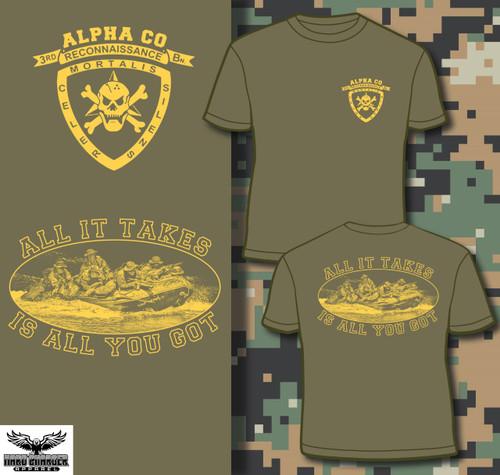 Alpha Company 3rd Recon Gold Logo LONG SLEEVE T-shirt