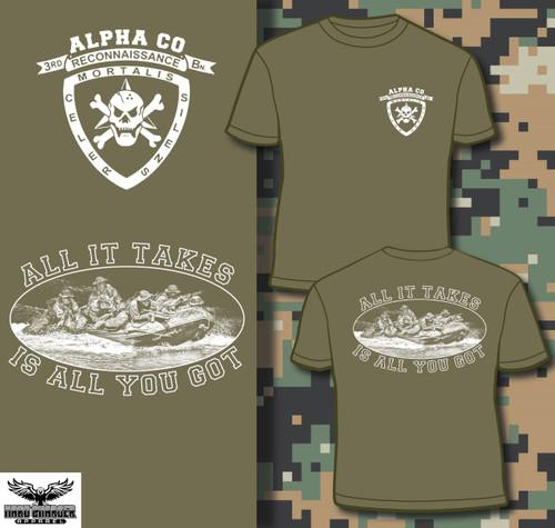 Alpha Company 3rd Recon White Logo LONG SLEEVE T-shirt