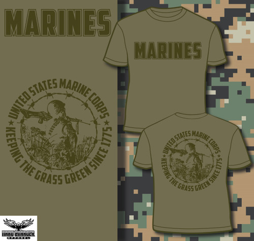 Marines keeping the grass green (Green logos) T-shirt
