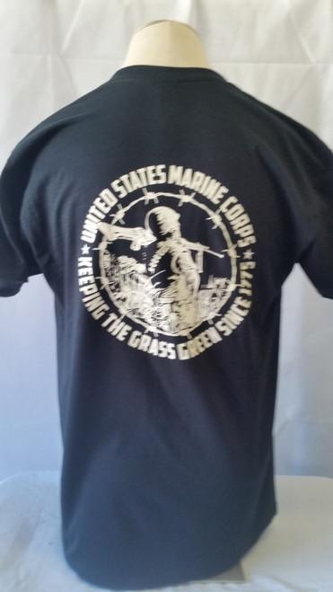 Marines keeping the grass green (Tan logos) T-shirt