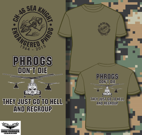 CH-46 Sea Knight Phrogs Regroup Long Sleeved T-shirt