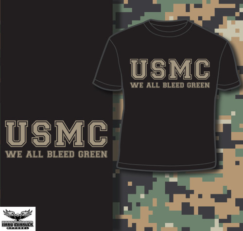 USMC - We All Bleed Green Long Sleeve T-shirt