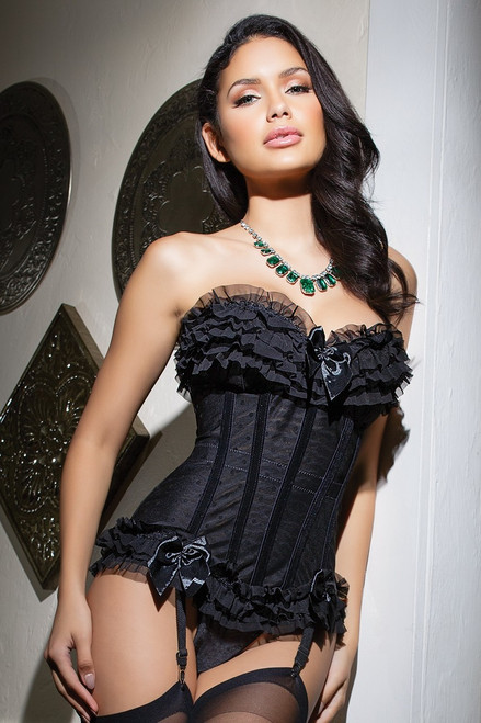 Mesh Polka Dot Burlesque Corset with Padded Cups in Black