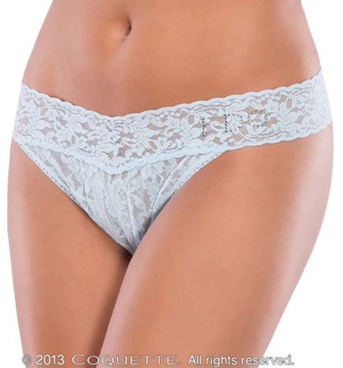 "baby blue lace thong with ""I Do"" rhinestone detail"