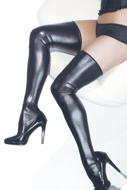 Gaga Thigh High Stockings in Black Wet Look Online
