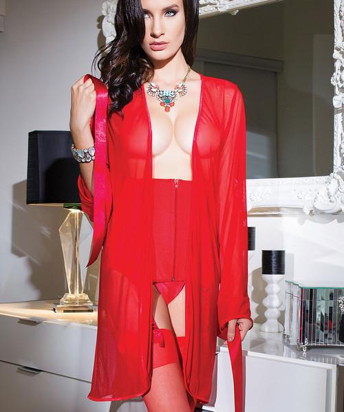Mesh Kimono Robe | Red
