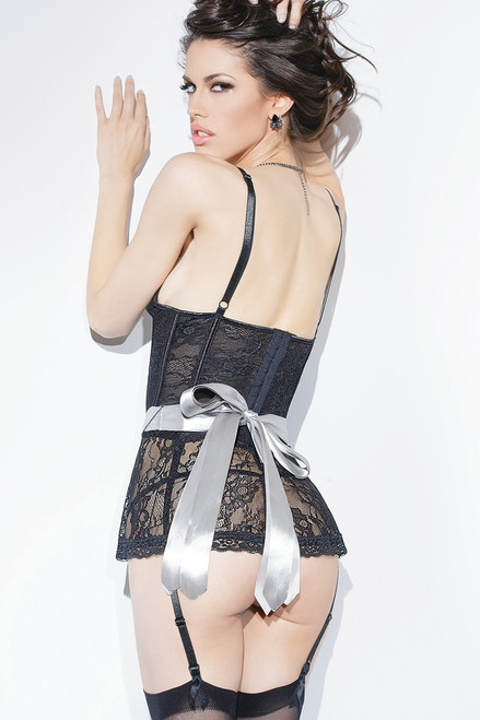 Peplum Stretch Lace Corset Black Silver Online Back