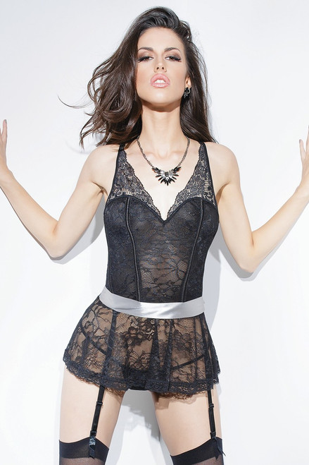 Peplum Stretch Lace Corset Black Silver Online