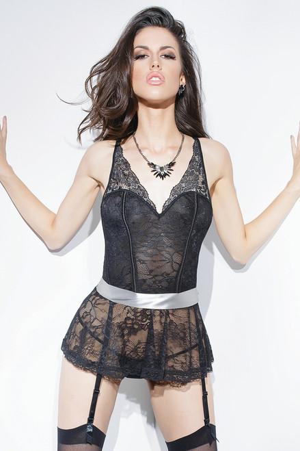 Peplum Stretch Lace Corset Black Silver Online