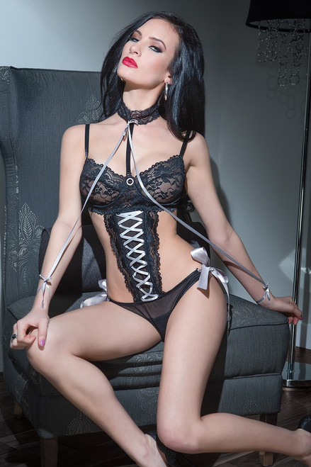Scalloped Lace and Mesh Crotchless Teddy Black Silver